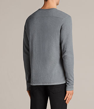 Hombres Clash Long Sleeved Crew T-Shirt (SMOKE BLUE) - Image 4