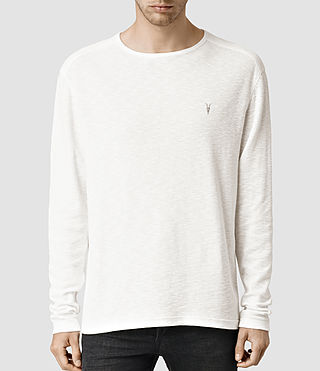 Mens Clash Long Sleeve Crew T-Shirt (Chalk)