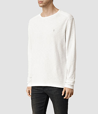 Mens Clash Long Sleeve Crew T-Shirt (Chalk) - product_image_alt_text_2