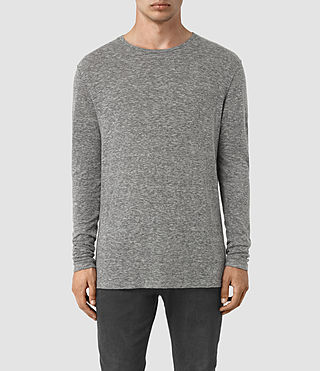 Hombres Aurora Long Sleeve Crew T-Shirt (Charcoal Marl)