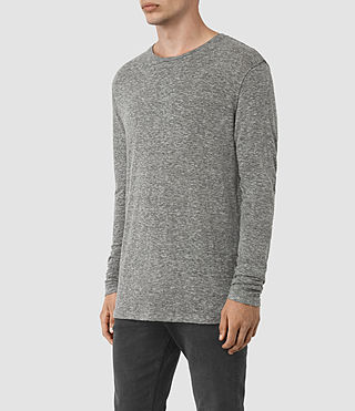 Mens Aurora Long Sleeve Crew T-Shirt (Charcoal Marl) - product_image_alt_text_2