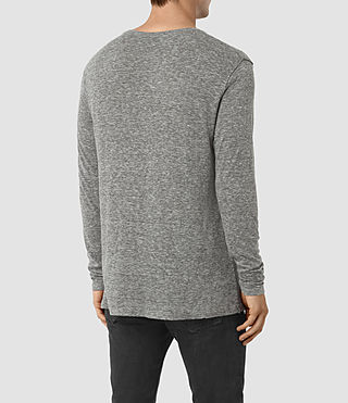 Mens Aurora Long Sleeve Crew T-Shirt (Charcoal Marl) - product_image_alt_text_3