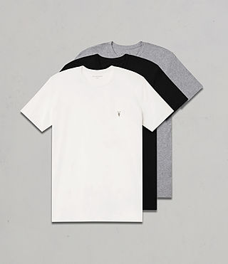 Uomo Tonic Crew T-Shirt 3 Pack (CHALK/BLACK/GREY)