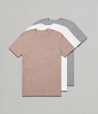 Mens Tonic Crew T-Shirt 3 Pack (PINK/WHITE/GREY) - Image 1