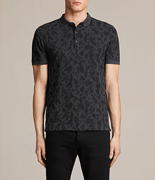 Mens Montauld Polo Shirt (CHARCOAL MRL/BLACK)