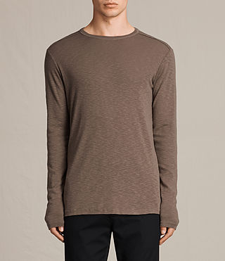 Mens Laoter Long Sleeve Crew T-Shirt (Washed Khaki) - product_image_alt_text_1