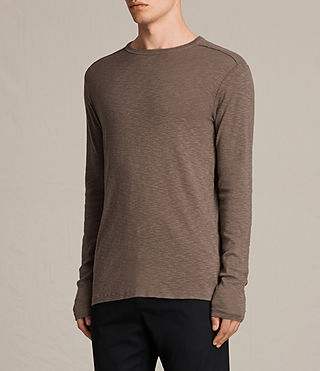 Mens Laoter Long Sleeve Crew T-Shirt (Washed Khaki) - product_image_alt_text_3