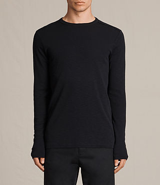 Mens Laoter Long Sleeve Crew T-Shirt (Jet Black) - product_image_alt_text_1
