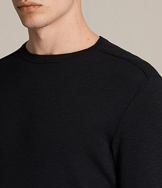 Uomo Laoter Long Sleeve Crew T-Shirt (Jet Black) - product_image_alt_text_2