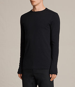 Uomo Laoter Long Sleeve Crew T-Shirt (Jet Black) - product_image_alt_text_3