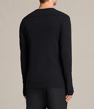 Uomo Laoter Long Sleeve Crew T-Shirt (Jet Black) - product_image_alt_text_4