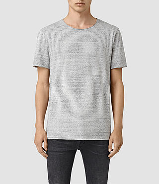 Mens Warn Stripe Crew T-Shirt (MIRAGE BLU/GRY MRL)