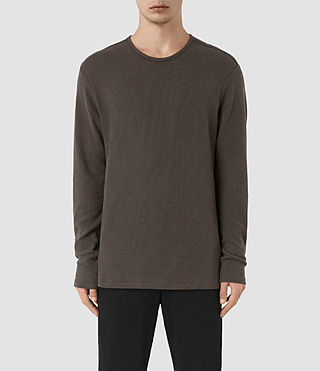 Mens Seymor Long Sleeve Crew T-Shirt (Khaki Brown) - product_image_alt_text_1