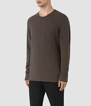 Mens Seymor Long Sleeve Crew T-Shirt (Khaki Brown) - product_image_alt_text_2