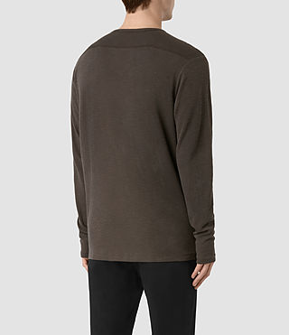 Mens Seymor Long Sleeve Crew T-Shirt (Khaki Brown) - product_image_alt_text_3