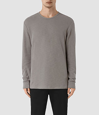Hombres Seymor Long Sleeve Crew T-Shirt (Putty Brown)