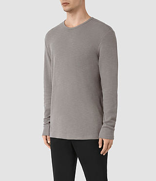 Mens Seymor Long Sleeve Crew T-Shirt (Putty Brown) - product_image_alt_text_2