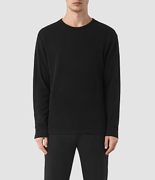 Hombres Seymor Long Sleeve Crew T-Shirt (Jet Black)