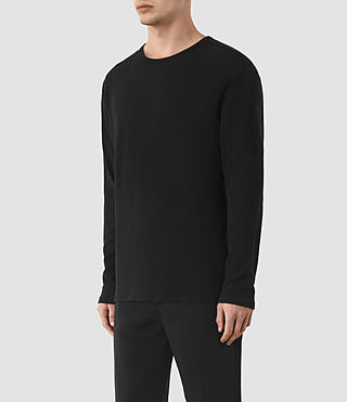 Mens Seymor Long Sleeve Crew T-Shirt (Jet Black) - product_image_alt_text_2
