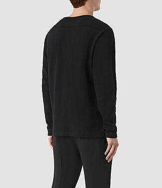 Mens Seymor Long Sleeve Crew T-Shirt (Jet Black) - product_image_alt_text_3