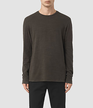 Hombre Orsman Long Sleeve Crew T-Shirt (Khaki Brown) - product_image_alt_text_1