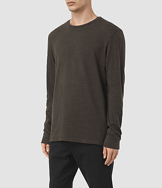 Hombre Orsman Long Sleeve Crew T-Shirt (Khaki Brown) - product_image_alt_text_2