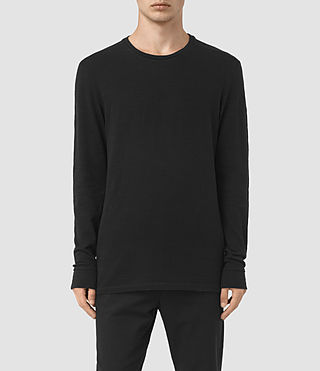 Hombres Orsman Long Sleeve Crew T-Shirt (Jet Black)