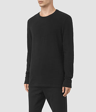 Mens Orsman Long Sleeve Crew T-Shirt (Jet Black) - product_image_alt_text_2