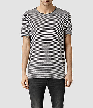 Mens Figure Stripe Crew T-shirt (Chalk/Ink)