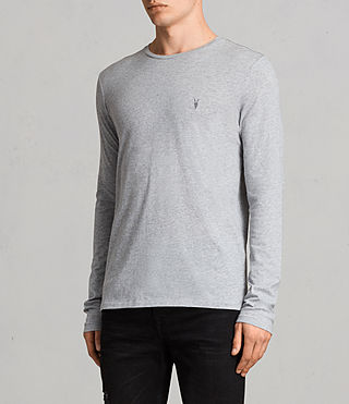 Mens Tonic Long Sleeve Crew T-shirt (Grey Marl) - Image 3