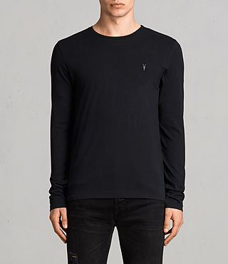 Herren Tonic Long Sleeved Crew T-shirt (Jet Black)