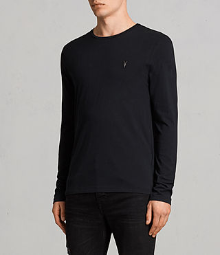 Mens Tonic Long Sleeve Crew T-shirt (Jet Black) - product_image_alt_text_3