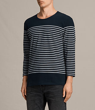 Herren Nimlana 3/4 Sleeve Crew T-Shirt (INK NAVY/GREY MARL) - product_image_alt_text_2
