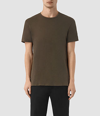 Hombres Grinds Crew T-Shirt (Khaki Brown) -