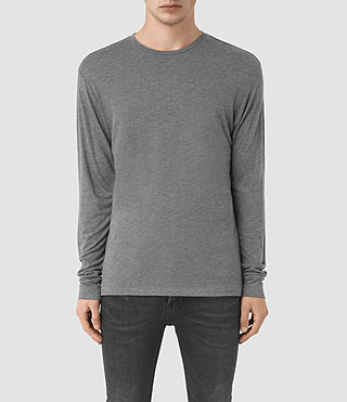 Hombres Cedarn Long Sleeve Crew T-Shirt (Charcoal Marl)