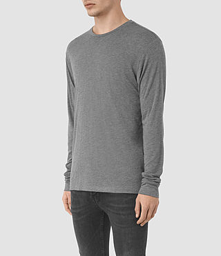 Mens Cedarn Long Shirt Crew T-Shirt (Charcoal Marl) - product_image_alt_text_2