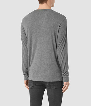 Mens Cedarn Long Shirt Crew T-Shirt (Charcoal Marl) - product_image_alt_text_3
