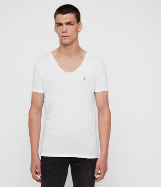 Herren Tonic T-Shirt mit weitem Kragen (Optic White) -