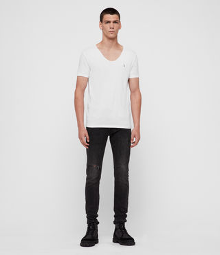 Herren Tonic T-Shirt mit weitem Kragen (Optic White) - product_image_alt_text_3