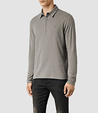 Mens Brace Long Sleeved Polo Shirt (Putty) - product_image_alt_text_2