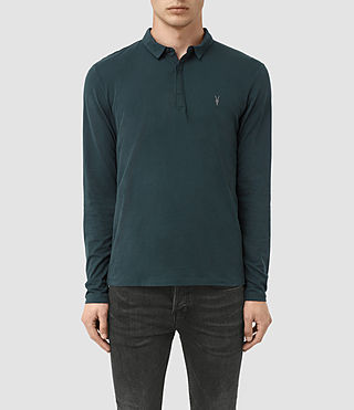 Hombres Brace Long Sleeved Polo Shirt (Petrol Blue)