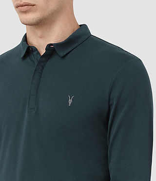 Herren Brace Long Sleeved Polo Shirt (Petrol Blue) - product_image_alt_text_2