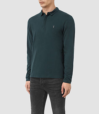 Herren Brace Long Sleeved Polo Shirt (Petrol Blue) - product_image_alt_text_3