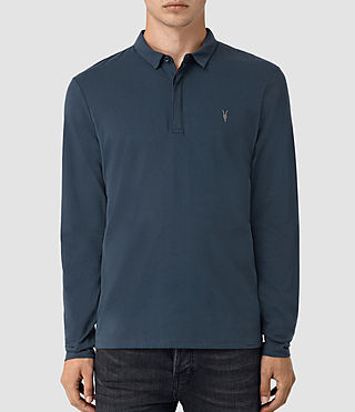 Hommes Brace Long Sleeve Polo Shirt (Workers Blue)