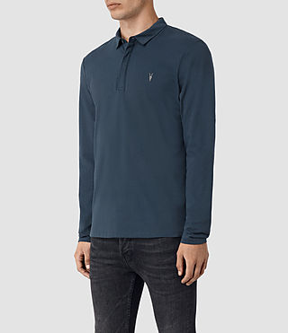Men's Brace Long Sleeve Polo Shirt (Workers Blue) - product_image_alt_text_3