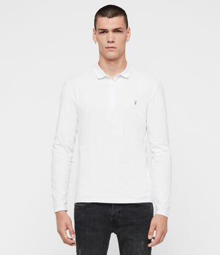Men's Brace Long Sleeved Polo Shirt (Optic White) - product_image_alt_text_3