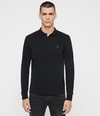 Hombres Brace Long Sleeved Polo Shirt (Jet Black)