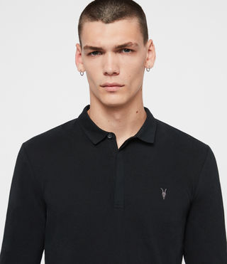 Uomo Brace Long Sleeved Polo Shirt (Jet Black) - product_image_alt_text_2