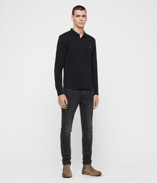 Uomo Brace Long Sleeved Polo Shirt (Jet Black) - product_image_alt_text_3