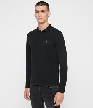 Uomo Brace Long Sleeved Polo Shirt (Jet Black) - product_image_alt_text_4